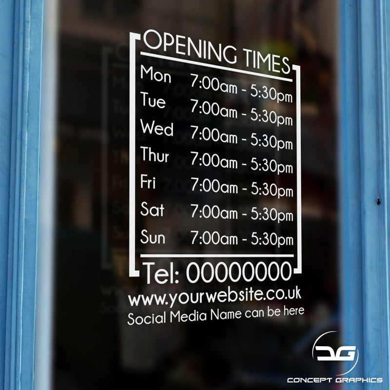 Modern Personalised Opening Hours/Times Business Vinyl Sign Sticker