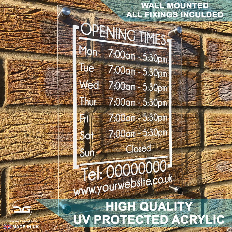 Modern Personalised Wall Mounted Acrylic Opening Times Sign