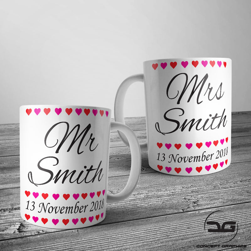 Set of 2 Personalised Custom Mr & Mrs Wedding Day Coffee Mugs/Cups