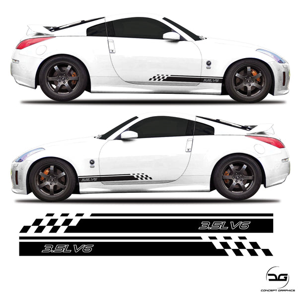 Nissan 350z 3.5L v6 JDM Half Side Stripes Stickers