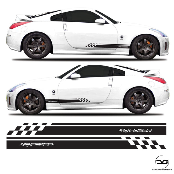 Nissan 350z 3.5L v6 VQ Power JDM Half Side Stripes Graphics Kit