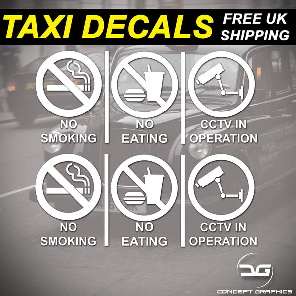 2x No Smoking, Eating, CCTV Warning Taxi Car Window Bumper Vinyl Decal Stickers