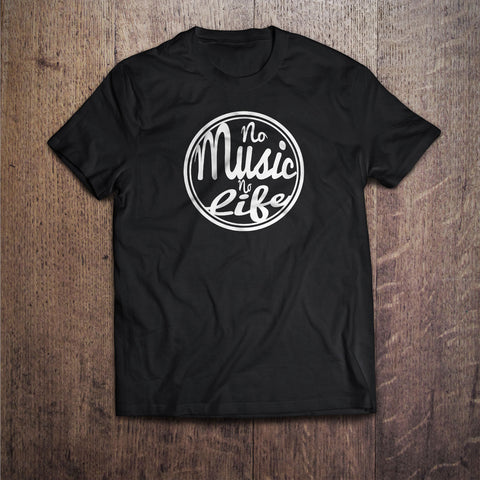 No Music No Life Funny Inspirational Black T-Shirt Great Gift for Him & Her