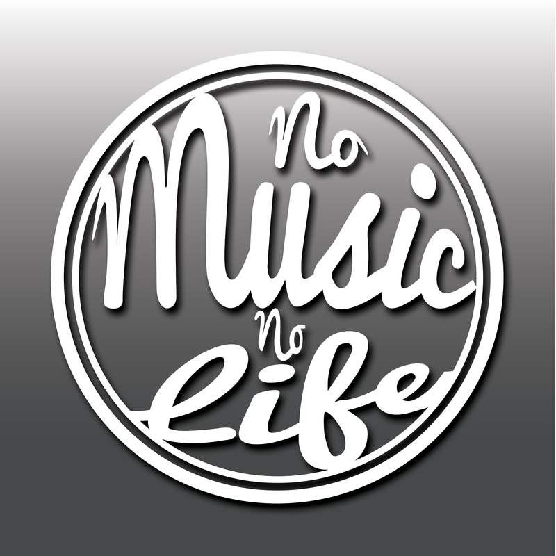 No Music No Life Funny Inspirational Laptop Macbook Car Vinyl Decal Sticker