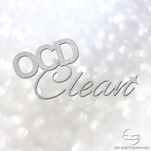 OCD Clean Car Detailing/Valeting Glitter Decal Sticker