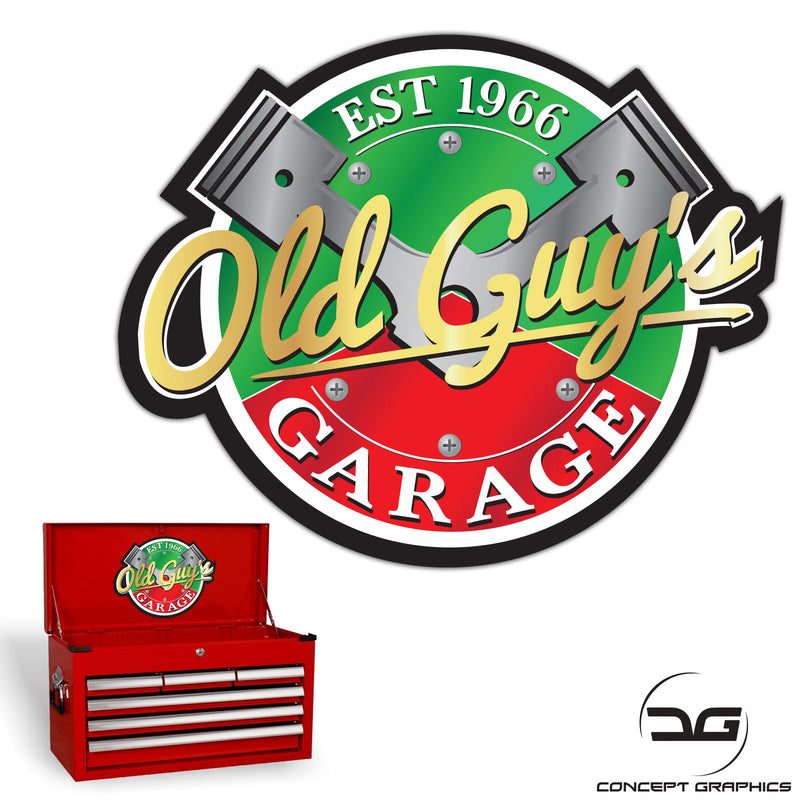Old Guys Garage Funny Novelty Mechanics Tool Box Colour Vinyl Decal Sticker
