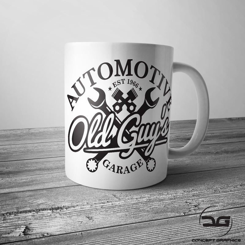 Old Guys Garage Automotive Funny Mechanics Coffee Tea Mug Cup