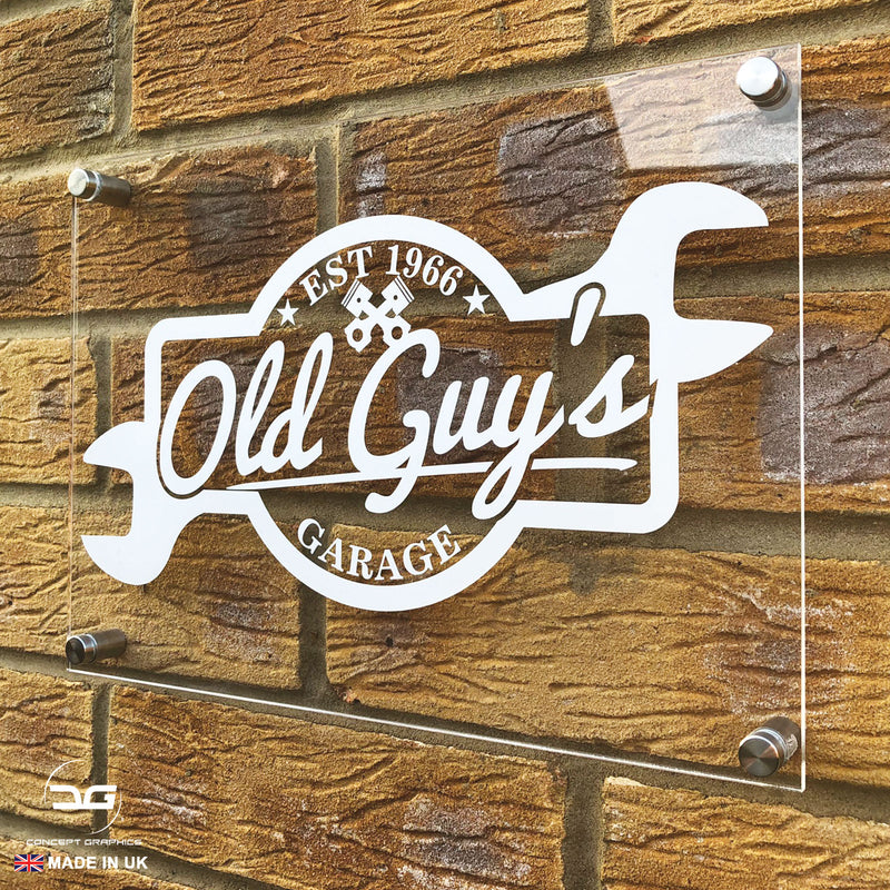 Funny Novelty Old Guys Garage Acrylic Wall Mounted Sign