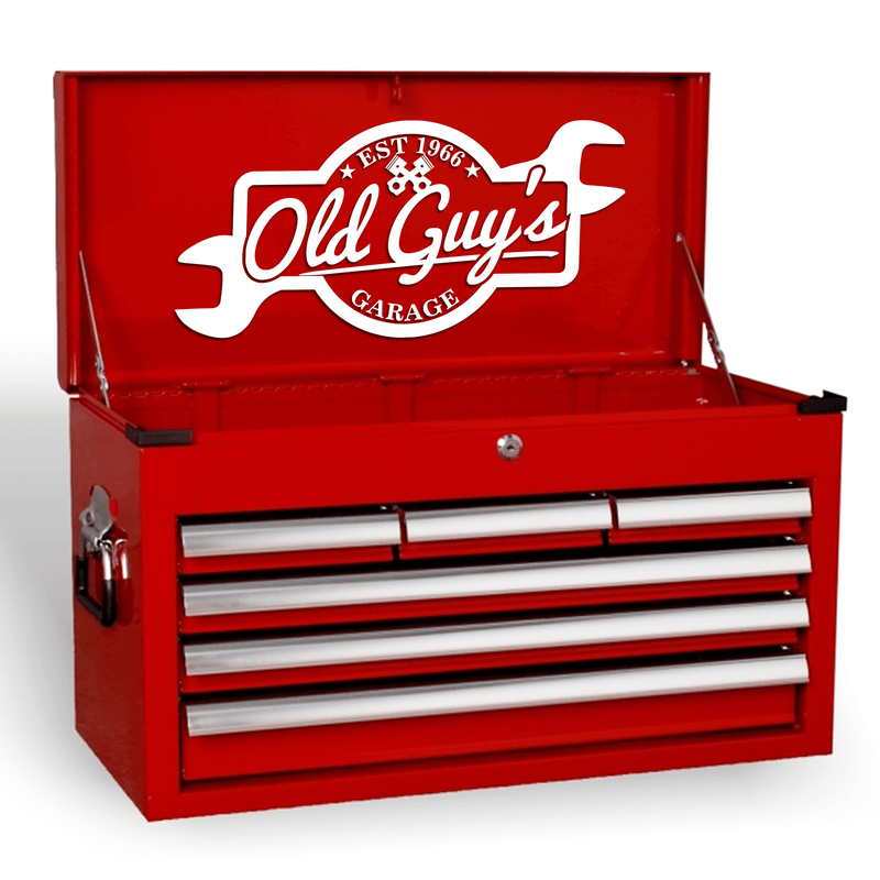 Old Guys Garage Funny Novelty Joke Mechanics Tool Box Vinyl Decal Sticker