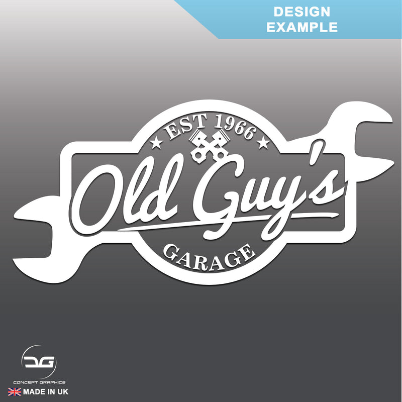 Wall Mounted Old Guys Garage Sign Design