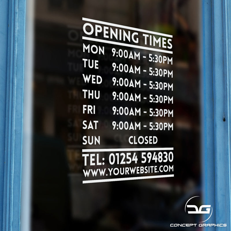 Opening Hours Times Vinyl Decal Sticker Sign Window Example
