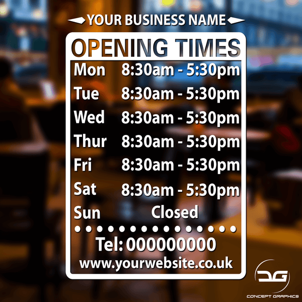 Custom Opening Hours/Times Window Sign With Business Name
