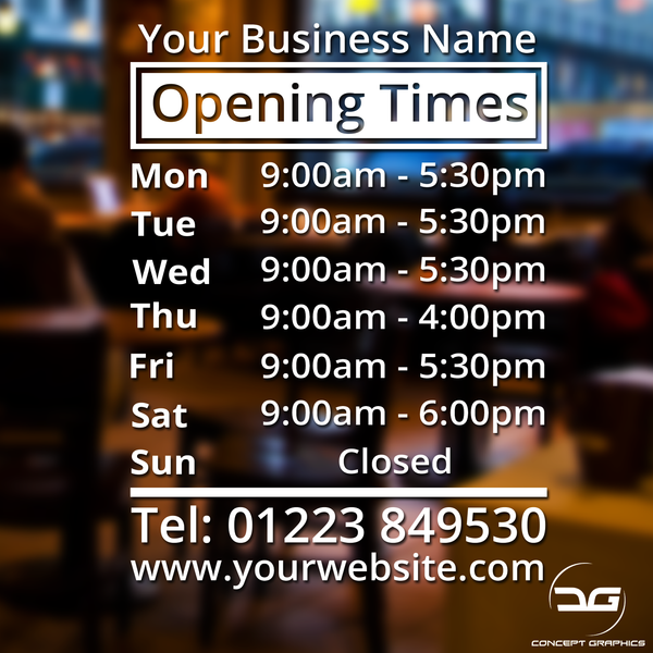 Custom Personalised Window Wall Opening Times/Hours Vinyl Decal Window Sign Ideal for Bars, Retail Shops, Barbers