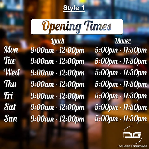 Lunch & Dinner Personalised Opening Hours Vinyl Decal Sign Style 1