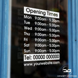 Personalised Custom Opening Hours Vinyl Window Sign Sticker