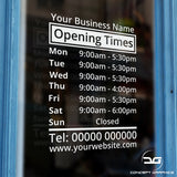 Opening Times Sign With Business Name Door Example