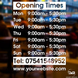 Custom Personalised Opening Times Window Sign Sticker