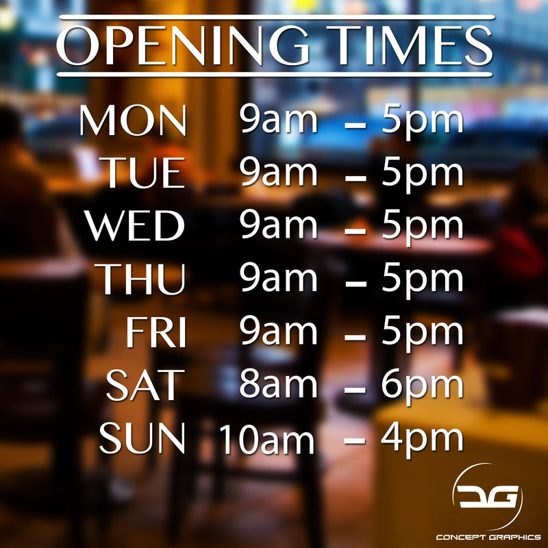 Personalised Opening Hours Vinyl Decal Window Sign