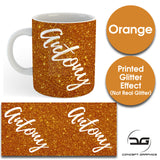Custom Personalised Name Printed Orange Glitter Effect Coffee Mug Cup