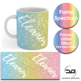 Custom Personalised Name Printed Spectrum Pastel Glitter Effect Coffee Mug Cup