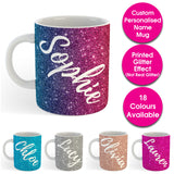 Custom Personalised Name Printed Glitter Effect Coffee Mug Cup