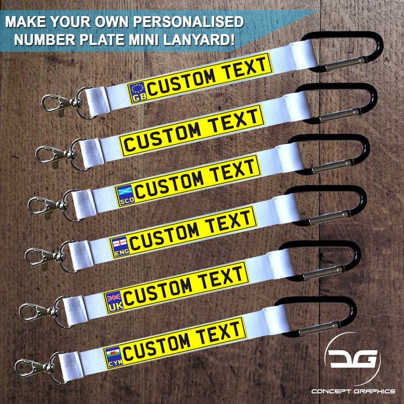 Personalised Custom Number Plate Mini Lanyard Keyring