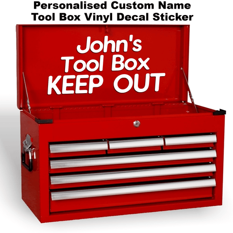 Custom Personalised Name Funny Novelty Tool Box Vinyl Decal Sticker