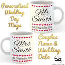 Set of 2 Personalised Custom Mr & Mrs Wedding Day Coffee Mugs