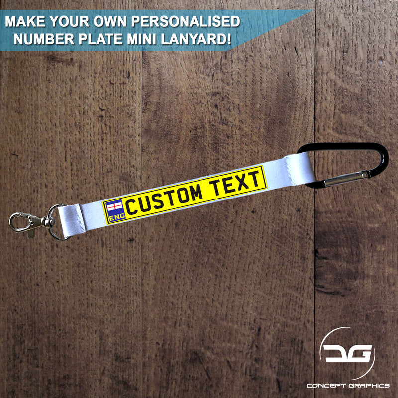 Personalised Custom Number Plate Mini Lanyard Keyring England