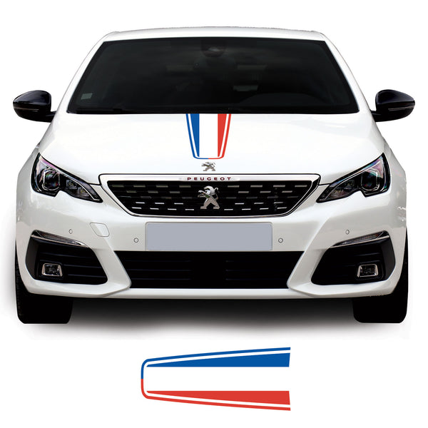 Peugeot 308 2014 Onwards French Flag Bonnet Racing Stripe Vinyl Decal Sticker Graphic