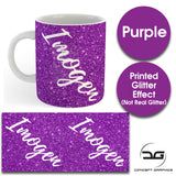 Custom Personalised Name Printed Purple Glitter Effect Coffee Mug Cup