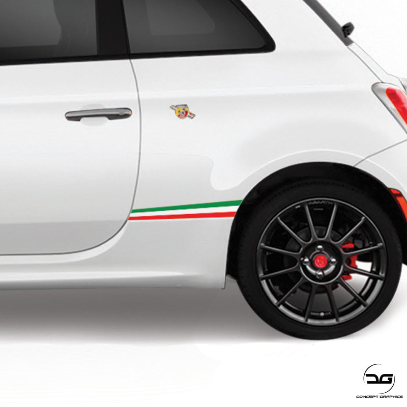 Fiat 500 Abarth Italian Flag Lower Rear Quarter Panel Side Stripe Vinyl Sticker Graphics