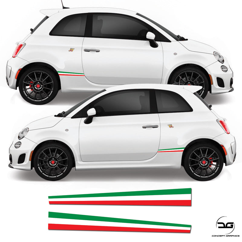 Fiat 500 Abarth Italian Flag Lower Rear Side Stripe Sticker Graphics