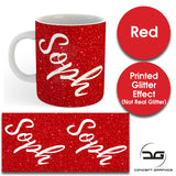 Custom Personalised Name Printed Red Glitter Effect Coffee Mug Cup