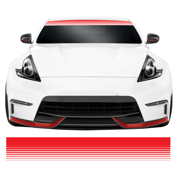 Red & White Stripe Fade JDM Euro DUB Car Windscreen Sunstrip Banner Sticker