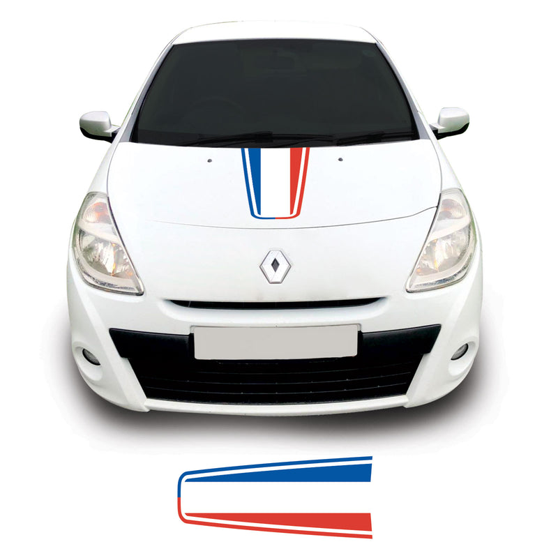 Renault Clio Mk3 2009 Onwards French Flag Bonnet Racing Stripe Vinyl Decal Sticker Graphic