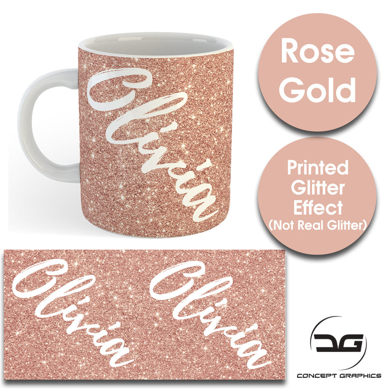 Custom Personalised Name Printed Rose Gold Glitter Effect Coffee Mug Cup