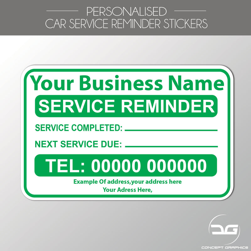 Personalised Car Service Reminder Garage Label Stickers