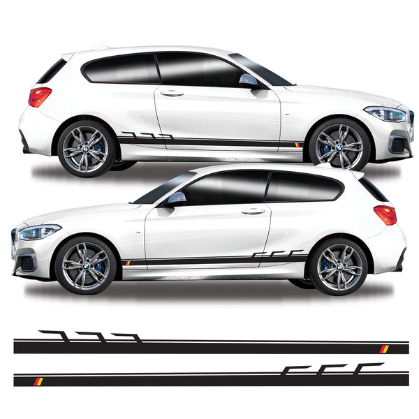 BMW 1 Series German Flag Side Stripes Vinyl Decal Sticker Graphics