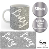 Custom Personalised Name Printed Silver Glitter Effect Coffee Mug Cup