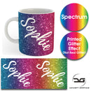 Custom Personalised Name Printed Spectrum Glitter Effect Coffee Mug Cup