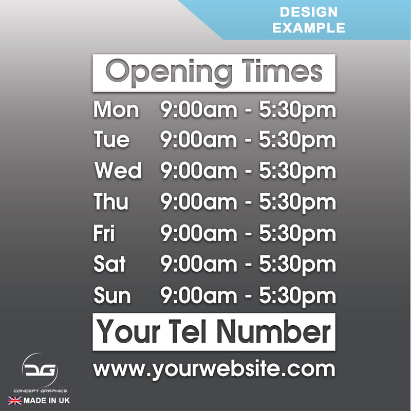Standard Wall Mounted Opening Times Sign Design Example