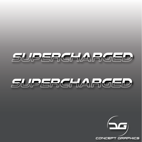 2x Large Supercharged Half Cut Stickers