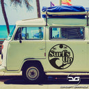 Surfs Up Funny Novelty Surfing Camper Van Car Vinyl Decal Sticker