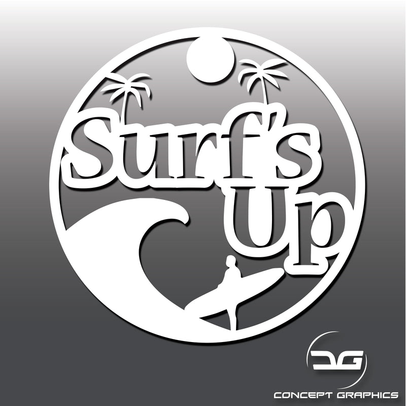 Surfs Up Funny Novelty Surfing Vinyl Decal Sticker