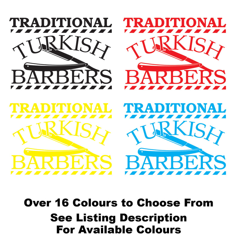 Traditional Turkish Barber Shop Personalised Vinyl Decal Sticker Sign Colours Available