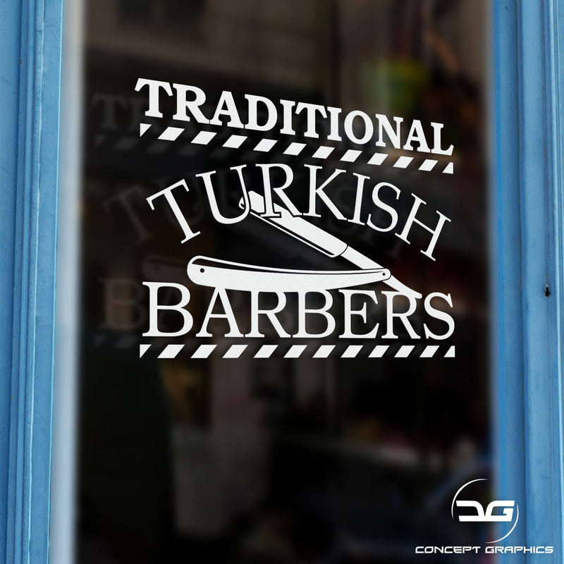 Traditional Turkish Barber Shop Window Vinyl Decal Sticker Sign