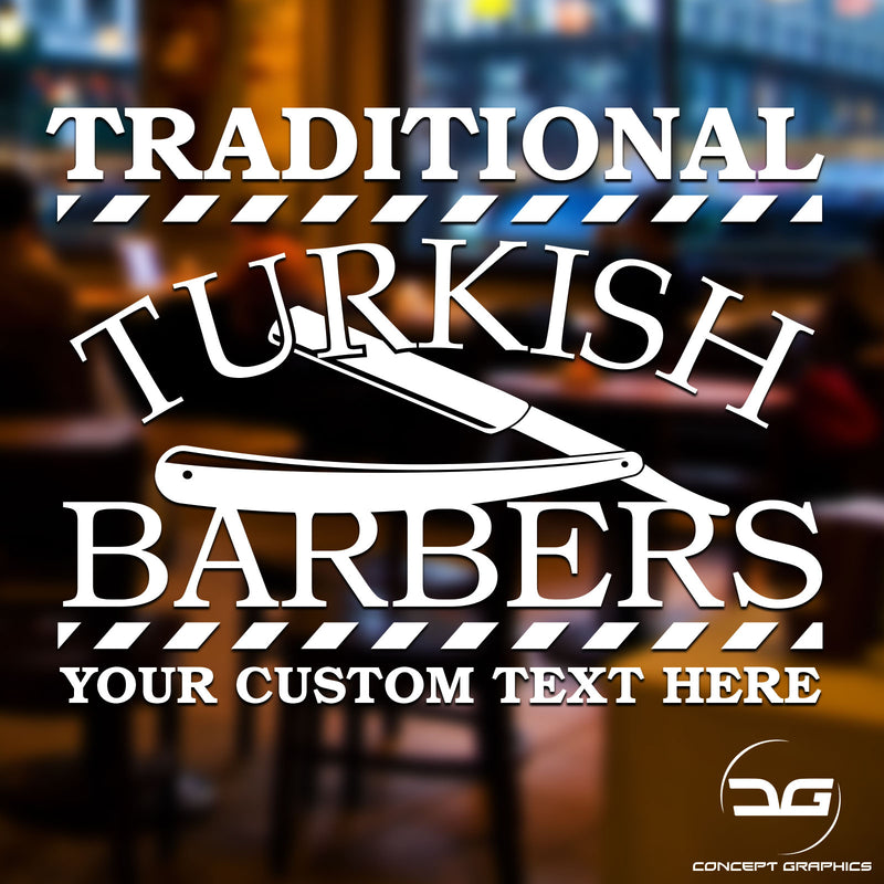 Traditional Turkish Barber Shop Window Wall Door Vinyl Decal Sticker Sign