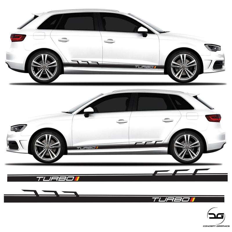 German Flag Turbo Audi A3 s3 Side Stripe