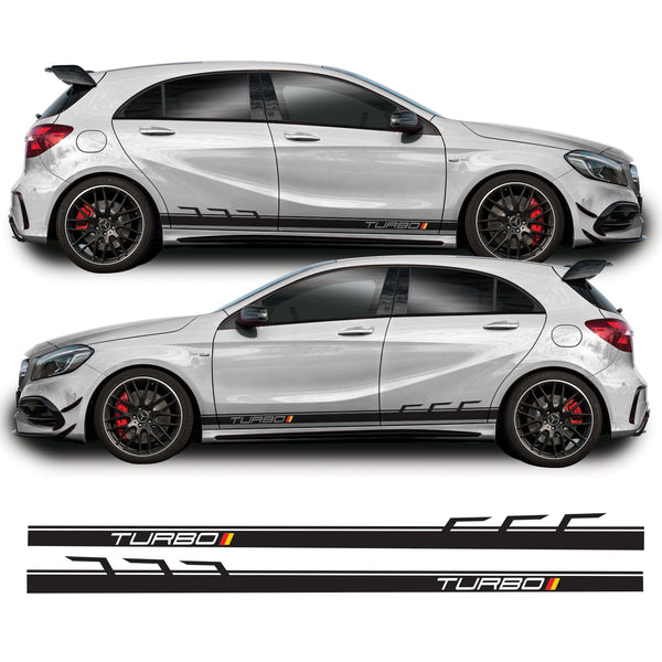 Mercedes A Class  / A45 AMG 2013 Onwards Turbo German Flag Side Stripe Vinyl Decal Sticker Graphics